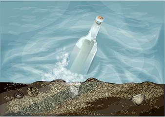 bottle in water