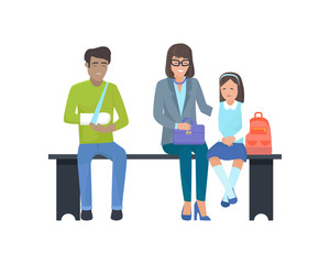 Patients Waiting for Doctor Vector Illustration