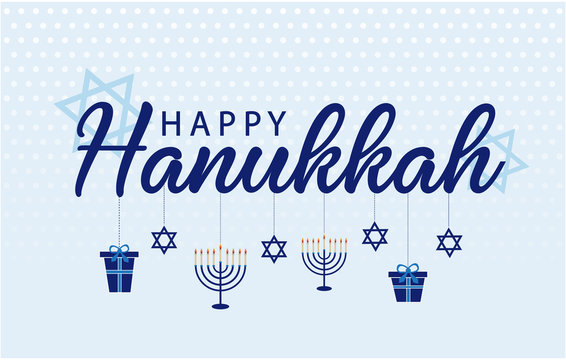 Happy Hanukkah greeting card or background. vector illustration.