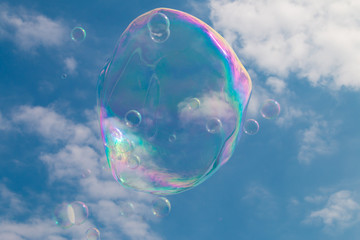 Blown bubbles floating in the sky