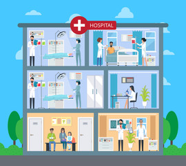 Hospital Building with Floors Vector Illustration