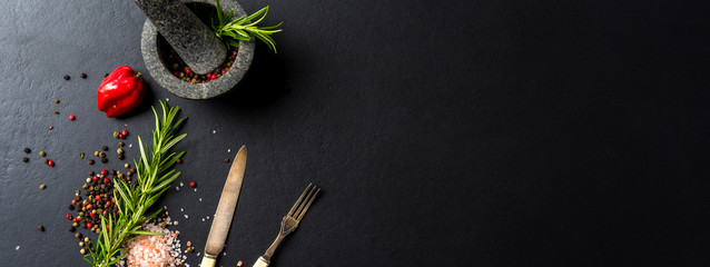 Food background with fresh herbs,  spices and stone mortar - fototapety na wymiar