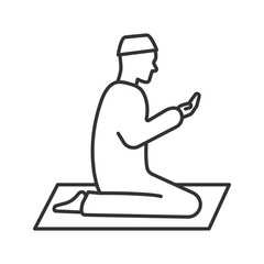 Praying muslim man linear icon