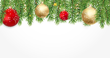 Fir Branches with Snow and Balls. Merry Christmas and New Year Winter Background. Vector Illustration