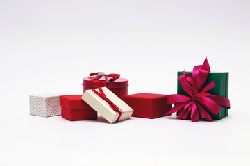 Gift boxes with bows on a white background