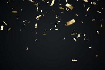 Golden confetti isolated on black background. 3D rendered illustion.