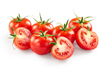 Tomatoes with drops of water isolated on white background