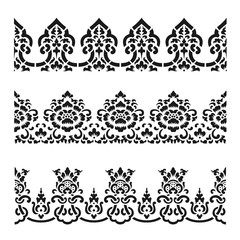 Asian traditional art Design Vector, Thai traditional with flower line design  (Lai Thai pattern)