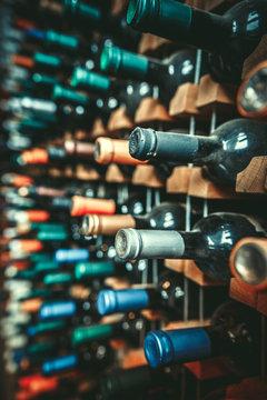 Many dusty wine bottles are on the shelves,Racks of wine bottles