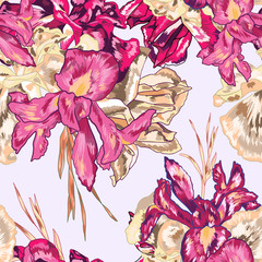 Fuchsia Iris Vector Seamless Pattern