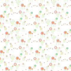 Seamless pattern with different cactus and succulents