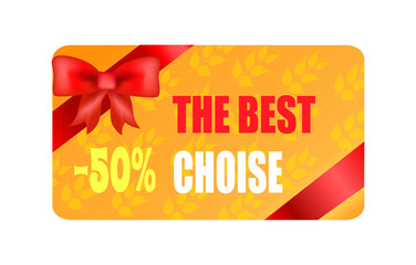 The Best Choice - 50 Autumn Sticker with Red Bow