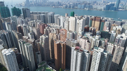 HongKong 香港 city busy concrete jangle china high narrow sea apartment