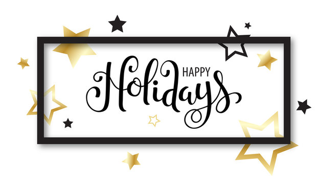 HAPPY HOLIDAYS brush calligraphy framed with stars