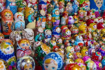 Russian traditional dolls Matryoshka at the souvenir market