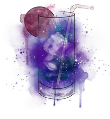 Space cosmic cocktail with a slice of a planet. Watercolor effect