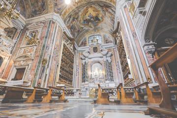Beautiful ceiling above Gesu Nuovo (Italian: New Jesus) church in Naples, Italy