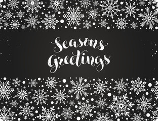 Seasons greetings greeting card template. Modern winter lettering with snowflakes horizontal frame on chalkboard. Merry Christmas vector illustration with text.