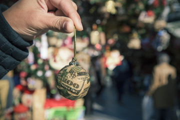 dollar ball in a christmas market