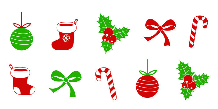christmas symbol collection set of holly berry lolipop candy christmas ball santa claus socks bow ribbon  red and green color isolated on white cute simple flat vector illustration