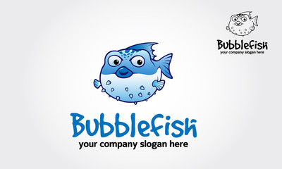 Bubble fish character fill their stomachs with air to make themselves look bigger and less appealing to a predator. before and after body - vector logo illustration