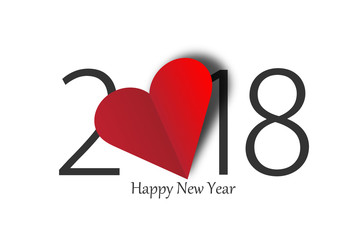 happy new year 2018 with heart on white background