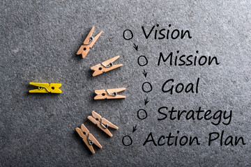 Illustration of business concept vision - mission - strategy - action plan on dark background with many colored pins