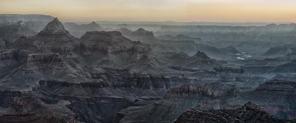 Beautiful Sunrise in Grand Canyon, USA. Panoramic view