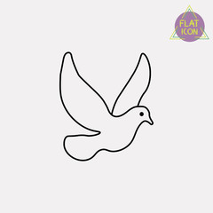 white pigeon line icon
