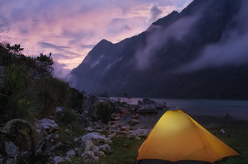Night camping in the Peruvian Andes.
