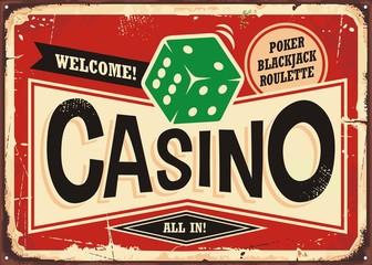 Casino retro sign. Vintage tin sign with green dice on red background,