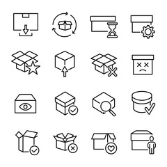 Simple set of box related outline icons.