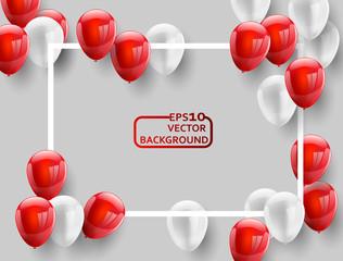 Red White balloons, concept design background. Celebration Vector illustration.