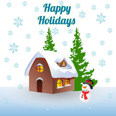 Christmas illustration (winter), house in the woods and a snowman, cartoon on a white background and snowflakes