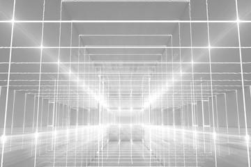 Abstract Futuristic white corridor interior design with end of light.Future concept. 3D Rendering