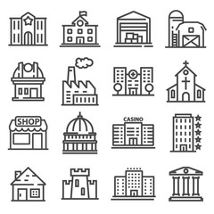 Set of public, government andcommercial city buildings and institutions.