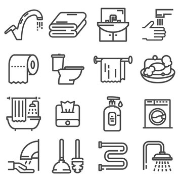 Line set of icons - bathroom.