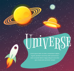 Space banner with planets, stars. design elements
