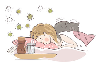 The cat heals / The girl is sick with influenza, vector illustration.