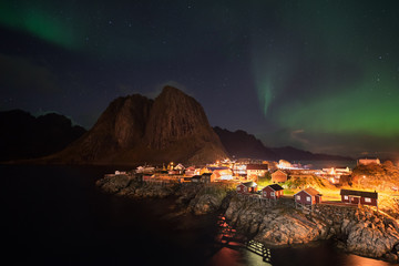 Northern lights over the Hamnoy village, Lofoten islands, Norway
