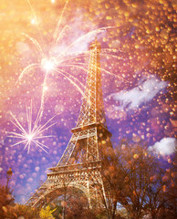 Poster Eiffeltoren celebrating New Year in the city - Eiffel tower (Paris, France) with fireworks