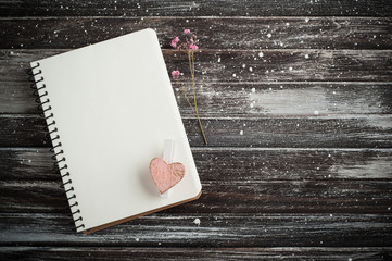 Empty notebook, pink heart
