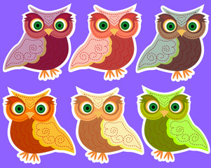 Six cute cartoon multicolored owls in a white outline, stickers