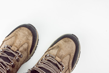 Mountain Hiking Boots On White Background Top View