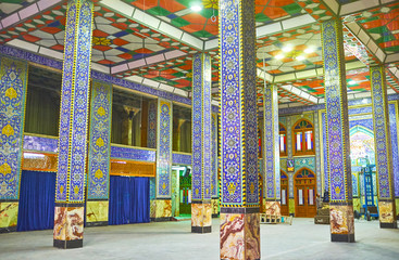 Colorful interior of Hazayer Mosque in Yazd