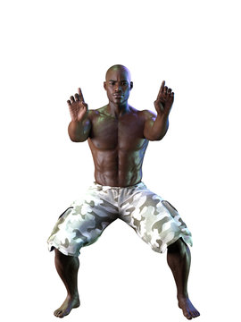 Black Man Fighting Stances Isolated on White
