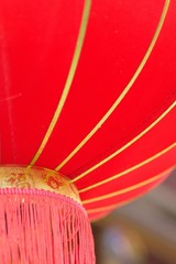 Texture of vibrant red colored Chinese Lantern in vertical frame