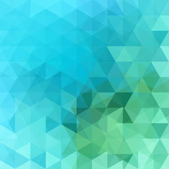 Geometric pattern, triangles vector background in green and blue tones. Illustration pattern