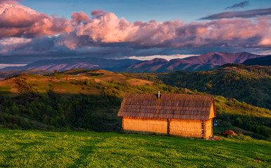 shed on the grassy hillside in red evening light. gorgeous springtime rural landscape in mountains under the blue sky with pink clouds
