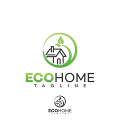 Home logo, green eco house real estate